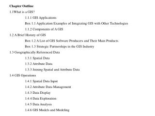 Chapter Outline 1.1What is a GIS? 	1.1.1 GIS Applications