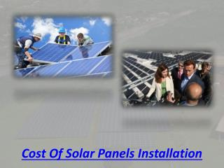 Cost of solar panels installation