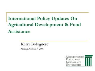 International Policy Updates On Agricultural Development  Food Assistance