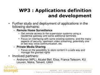 WP3 : Applications definition and development