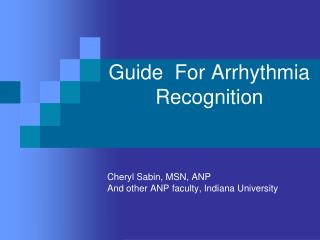 Guide  For Arrhythmia Recognition