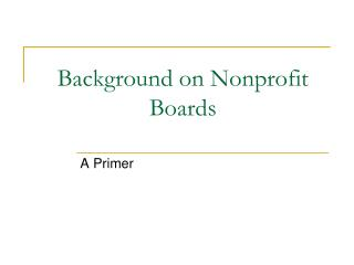 Background on Nonprofit Boards