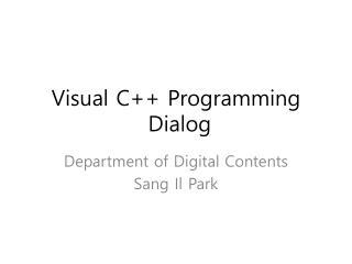 Visual C++ Programming  Dialog