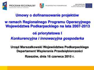 Umowy o dofinansowanie projektów  w ramach Regionalnego Programu Operacyjnego