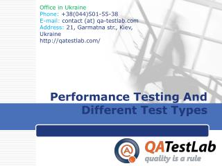 Performance Testing And Different Test Types