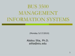 BUS 3500  MANAGEMENT INFORMATION SYSTEMS