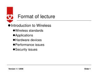 Format of lecture