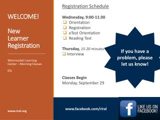 WELCOME! New Learner Registration