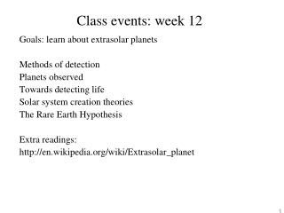 Class events: week 12