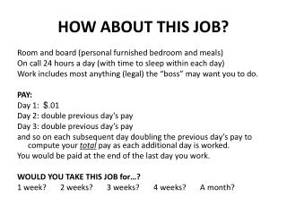 HOW ABOUT THIS JOB?