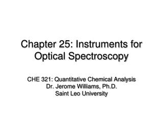 Chapter 25: Instruments for Optical Spectroscopy