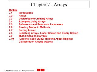 Chapter 7 - Arrays