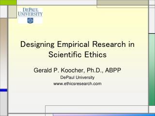 Designing Empirical Research in Scientific Ethics
