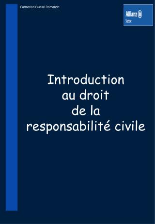 Introduction au droit de la responsabilité civile