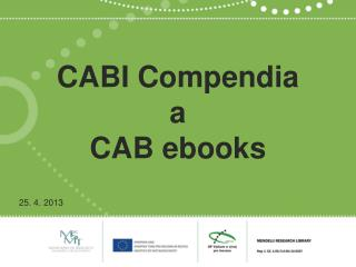 CABI  Compendia a CAB  ebooks