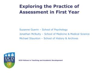 Exploring the Practice of Assessment in First Year