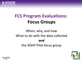 FCS Program Evaluations:  Focus Groups
