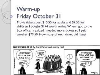 Warm-up Friday October 31