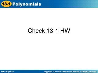 Check 13-1 HW