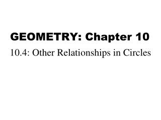 GEOMETRY: Chapter 10
