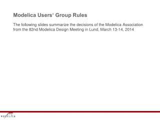 Modelica  Users' Group Rules