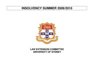 INSOLVENCY SUMMER 2009/2010