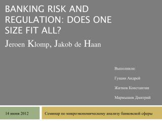 Banking risk and regulation: does one size fit all?