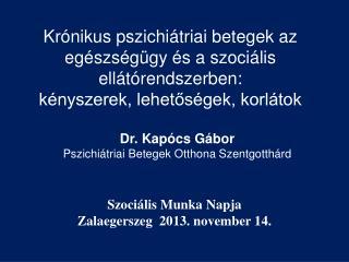 Kr�nikus pszichi�triai betegek az eg�szs�g�gy �s a szoci�lis ell�t�rendszerben: