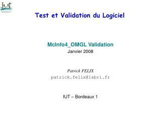 Test et Validation du Logiciel