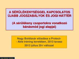 Nagy Boldizsár előadása a Protect- - Able tréning keretében, 2013 tavasz 2013 július 20-i változat