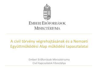 A civil törvény végrehajtásának és a Nemzeti Együttműködési Alap működési tapasztalatai