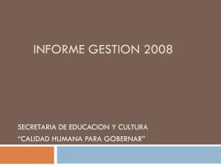INFORME GESTION 2008