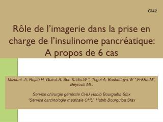 Rôle de l'imagerie dans la prise en charge de l' insulinome  pancréatique:  A propos de 6 cas