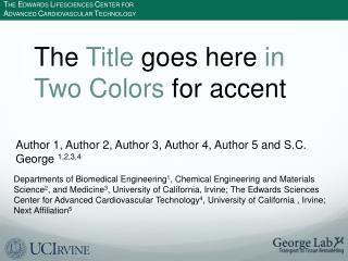 The  Title  goes here  in Two Colors  for accent