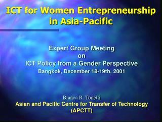 ICT for Women Entrepreneurship in Asia-Pacific
