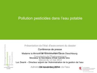 Pollution pesticides dans l'eau potable