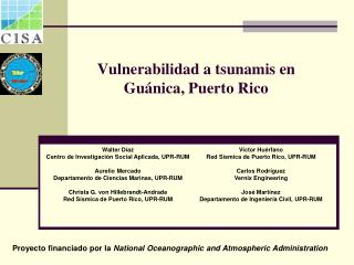 Vulnerabilidad  a tsunamis en  Gu�nica , Puerto Rico