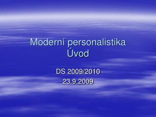 Moderní personalistika Úvod