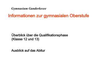 Gymnasium Ganderkesee Informationen zur gymnasialen Oberstufe