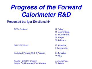 Progress of the Forward Calorimeter R&D