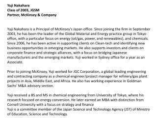 Yuji Nakahara Class of 2003, JGSM Partner, McKinsey & Company