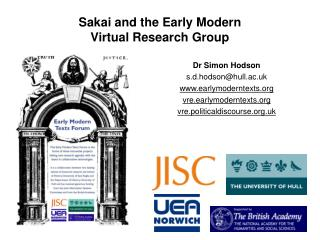 Sakai and the Early Modern Virtual Research Group