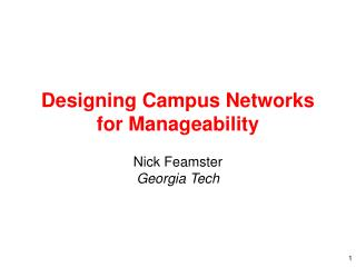 Designing Campus Networks for Manageability