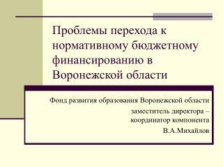 Проблемы перехода к нормативному бюджетному финансированию в Воронежской области