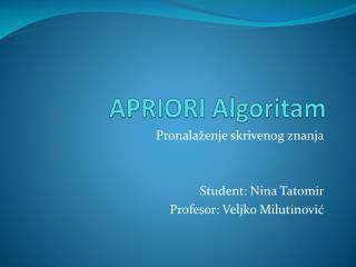 APRIORI Algoritam