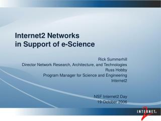 Internet2 Networks in Support of e-Science