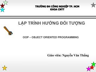 TRƯỜNG ĐH CÔNG NGHIỆP TP. HCM KHOA CNTT