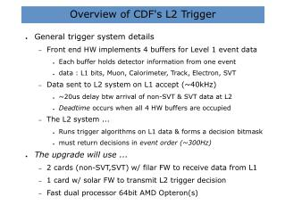 Overview of CDF's L2 Trigger