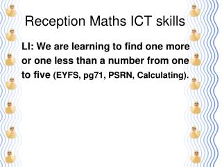 Reception Maths ICT skills