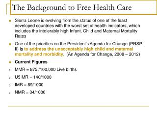 The Background to Free Health Care